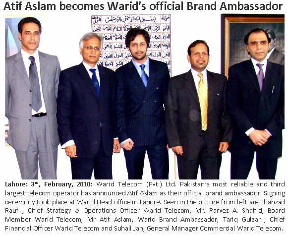 Atif Aslam Warid Ambassador