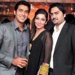 Aisamul Haq with his sister and brother at Lux Style Awards After Party