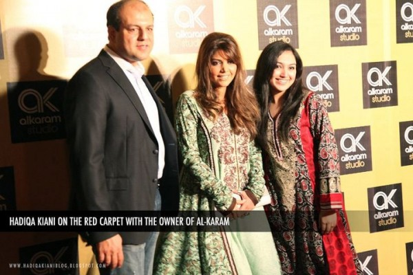 Hadiqa on Red Carpet with Alkaram Fashion Owner