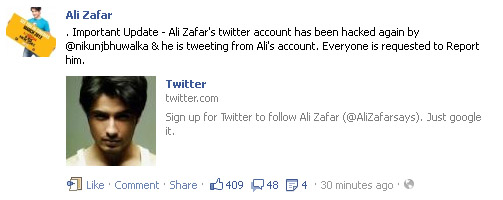 ali zafar facebook update regarding twitter account hack