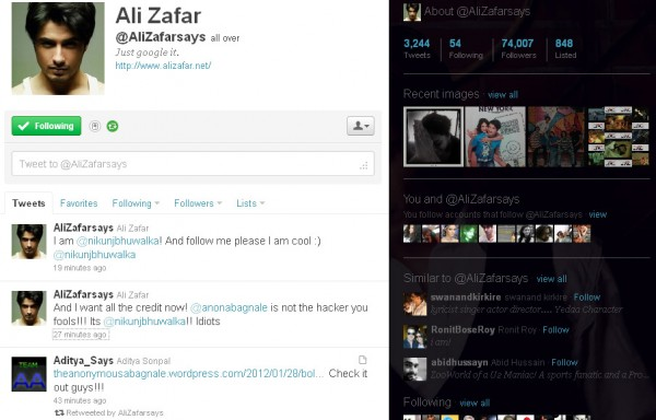 Ali Zafar twitter account hacked
