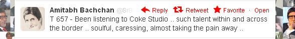 Amitabh Tweet regarding Coke Studio