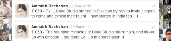 Amitabh tweet regarding Coke Studio 5