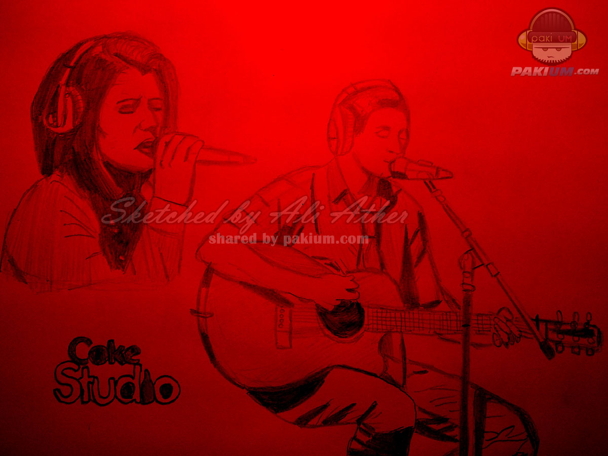 Bilal Khan and QB in Coke Studio, Sketched by Ali Ather