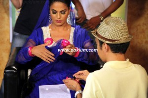 Veena Malik on the sets of Astagfaar show on Hero TV