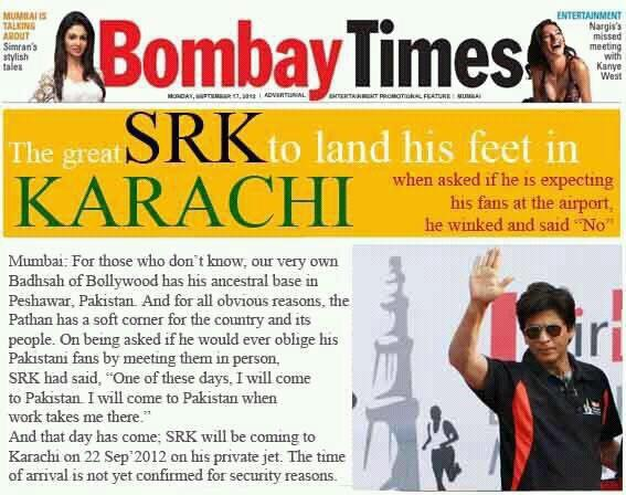Shahrukh Khan in Pakistan Rumor
