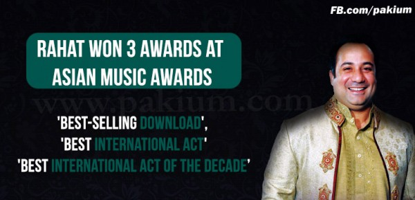 Rahat Fateh won 3 Awards Asian Music Awards