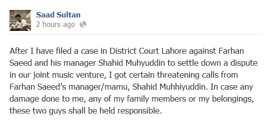 saad sultan accusing farhan saeed