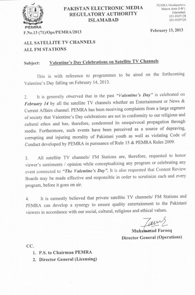 Letter By PEMRA to TV channels