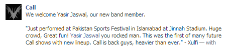 Yasir Jaswal new vocalist of Call