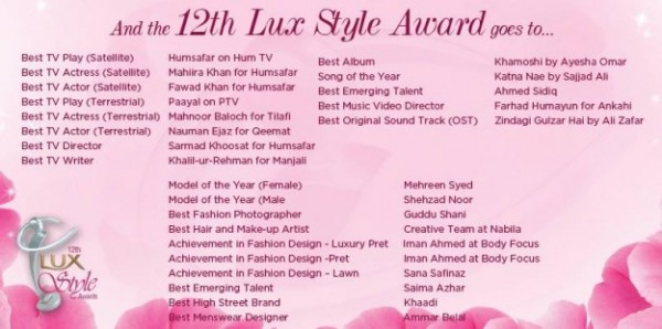 Lux Style Awards 2013 Winners
