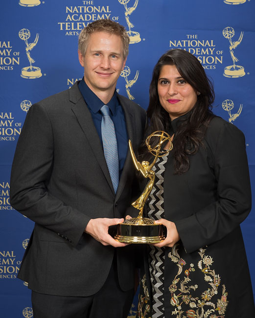 Daniel and Sharmeen with their Emmy Award