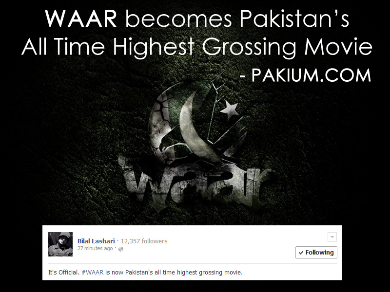 Waar Pakistan All time highest grossing movie