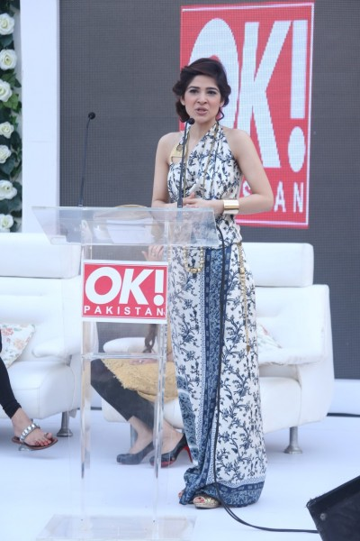 Host Ayesha Omar, wearing Shehla Chatoor at the OK! Pakistan Press Conference