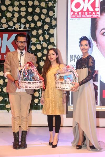 Saher Paracha and Best Dressed Award Winners Rizwanullah and Aamina Sheikh. Aamina Sheikh wore Maheen Karim at the event