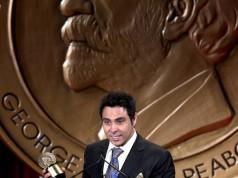 Haroon receiving PB Award Burka Avenger in New York