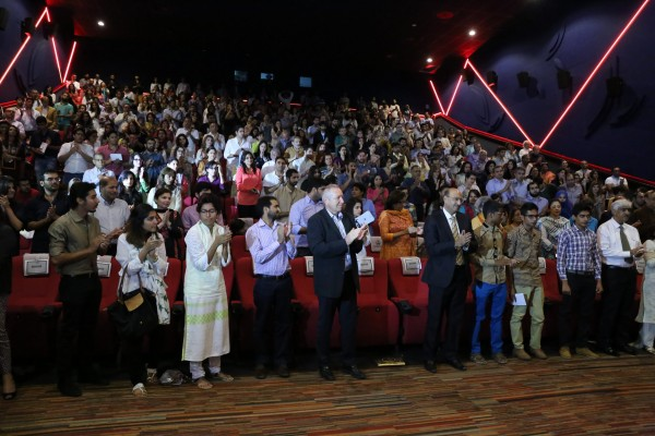 Attendees of the exclusive screening give a rousing standing ovation to the documentary subjects and producers of I Heart Karachi (1)