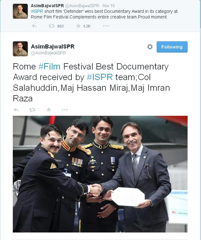 Rome Film Festival Best Documentary Award received by ISPR team; Col Salahuddin, Maj Hassan Miraj, Maj Imran Raza.