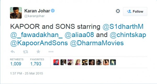 Karan Johar confirms the cast for Kapoor and Sons