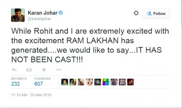 Karan Johar denied cast for Ram Lakhan
