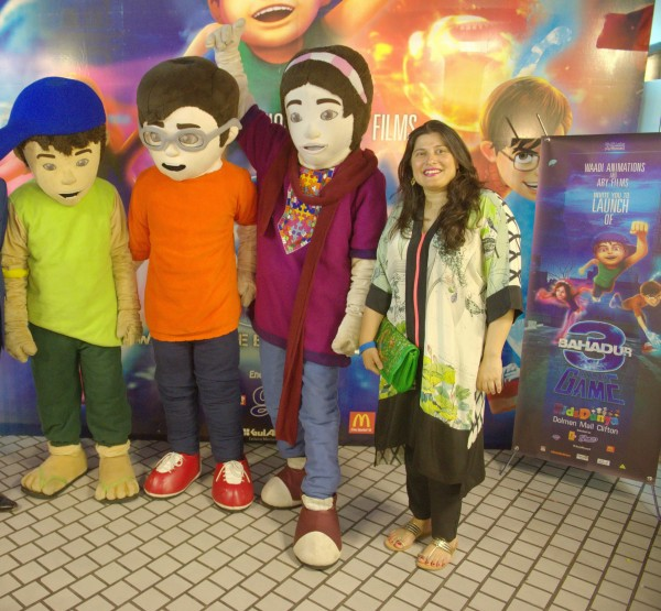Sharmeen Obaid-Chinoy with 3 Bahadur Mascots