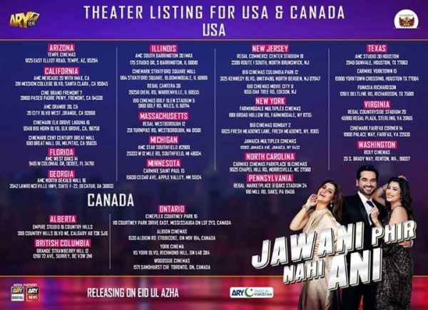 Jawani Phir Nahi Ani USA and Canada
