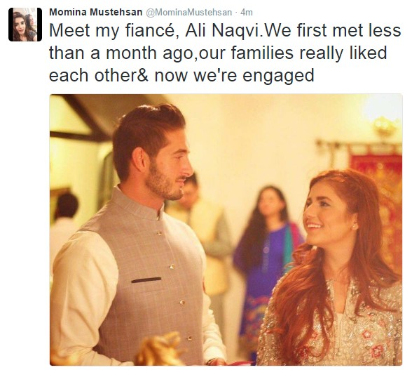 momina confirms her engagement via a tweet
